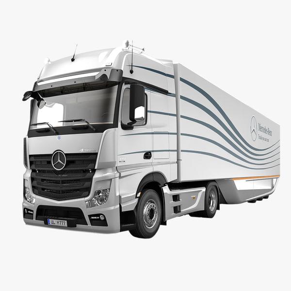 3d mercedes actros aero trailer