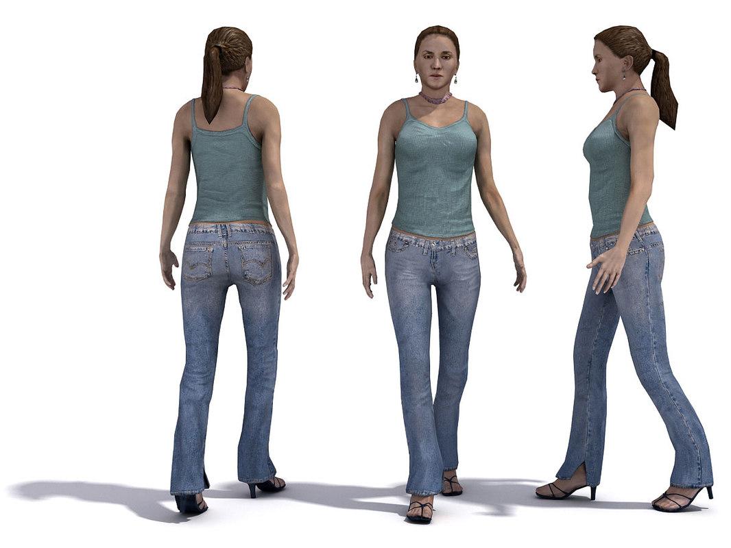 3d people 1 female model