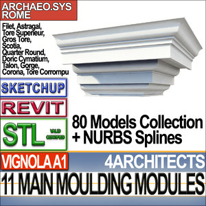 3ds modules architecture mouldings stl