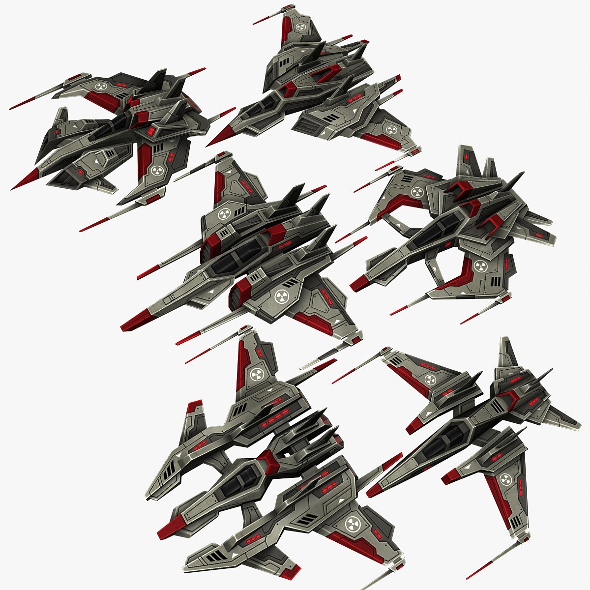3d model of 6 dark fighters