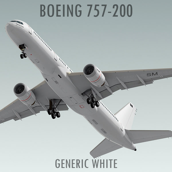 boeing 757-200 generic white 3d model