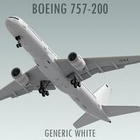 boeing 757-200 generic white 3d model
