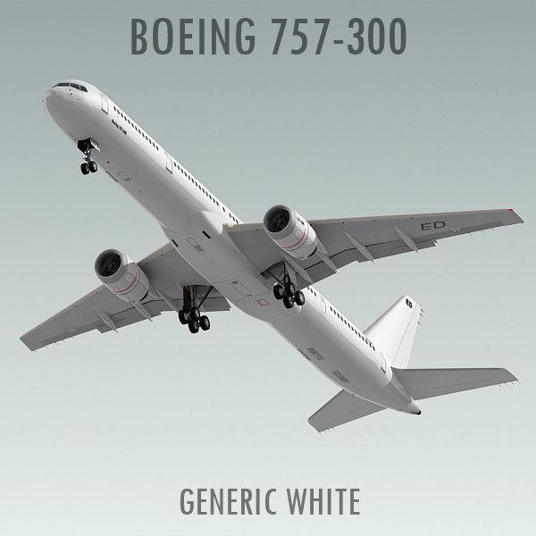 3d boeing 757-300 generic white
