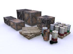 3d model boxes barrels