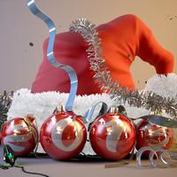 Christmas Santa Hat Bulb Scene