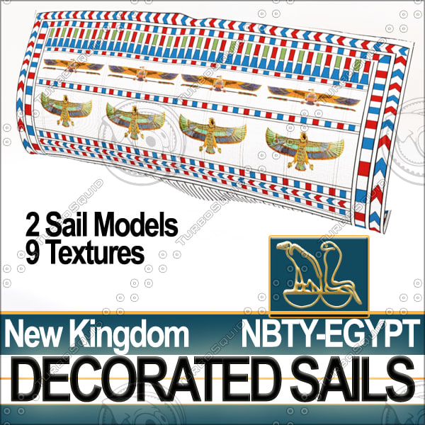 3ds ancient egyptian decorated sails
