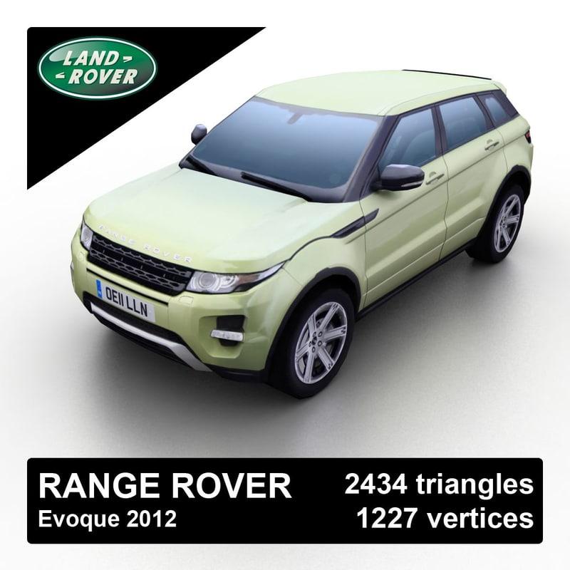 3d 2012 range rover evoque model