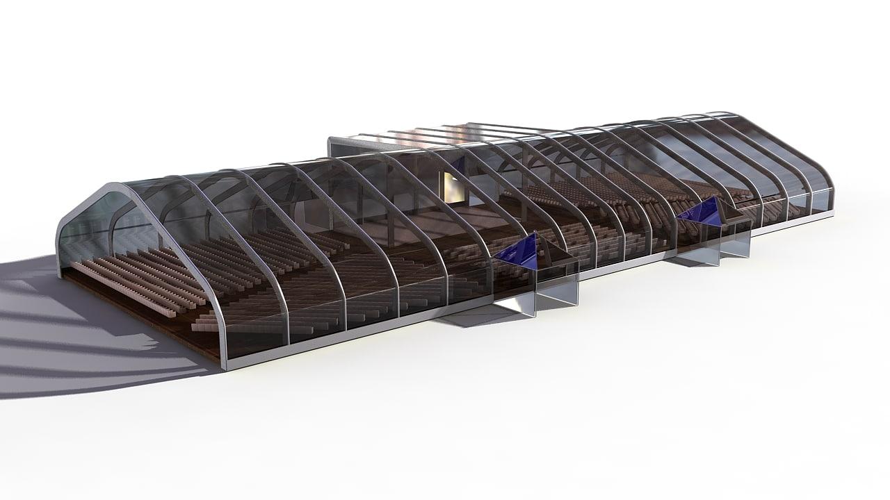 3d auditorium seats model