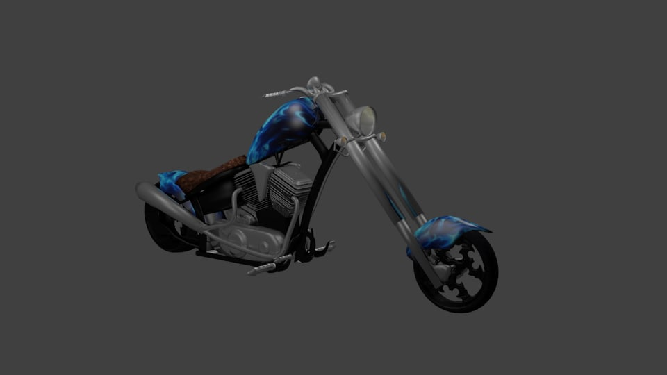 3d chopper motorcycle blue flaming model