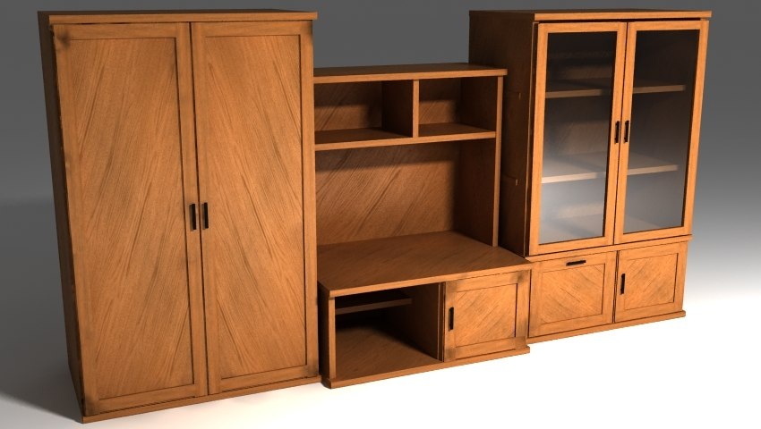 3d model of wood cabinet