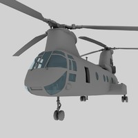 CH46 Sea Knight USMC Transport Helicopter Game Model