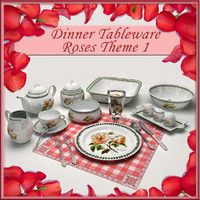 Dinner Tableware Roses Theme 1