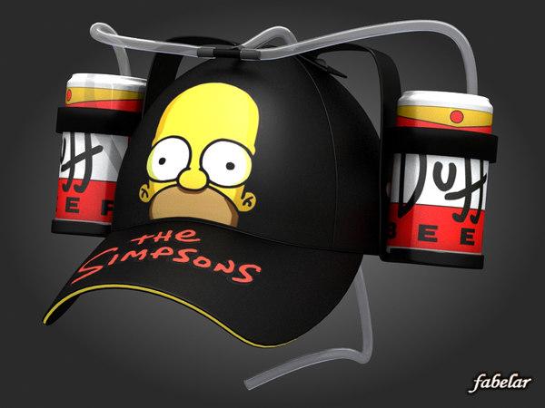 3d model of homer simpson beer hat