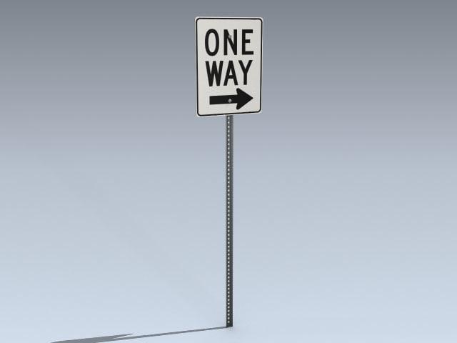 3d model way road sign