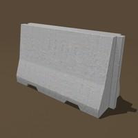 traffic concrete barrier 3d model