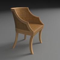3d model chair wood rattan