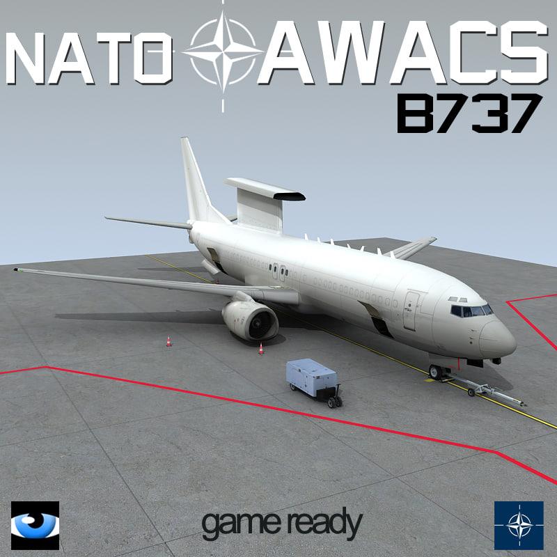 3d nato awacs b 737-7es model