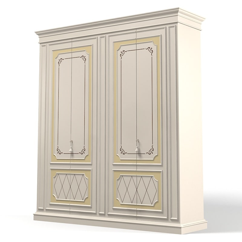 3d model classic bedroom wardrobe
