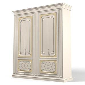 3d model classic bedroom wardrobe