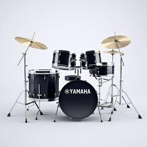 3d model yamaha drums set