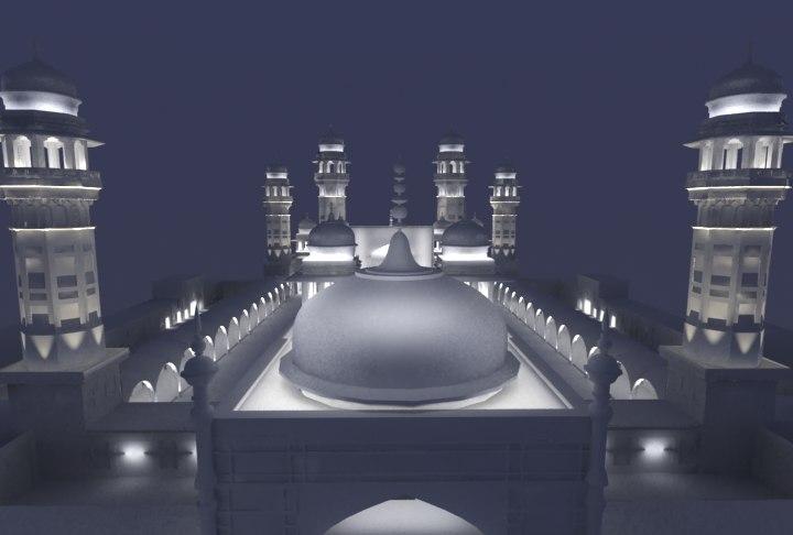 3d model masjid night