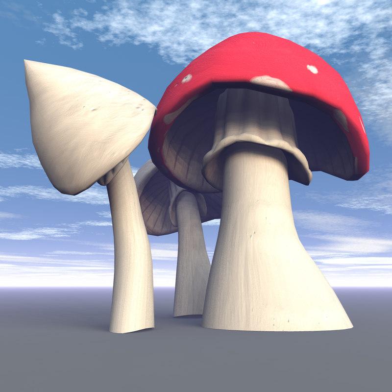 3d fantasy toadstools model