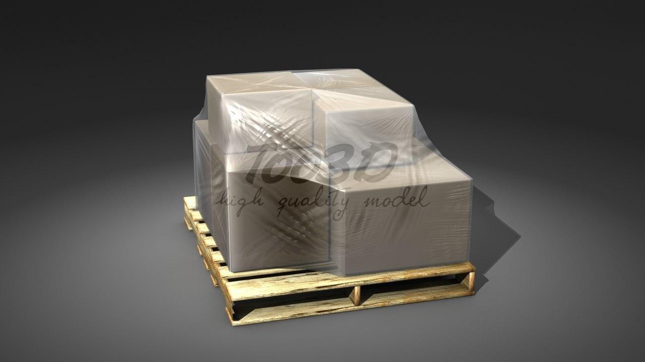 wood pallet boxes 3d model