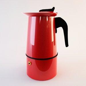 red metal coffeemaker 3d max