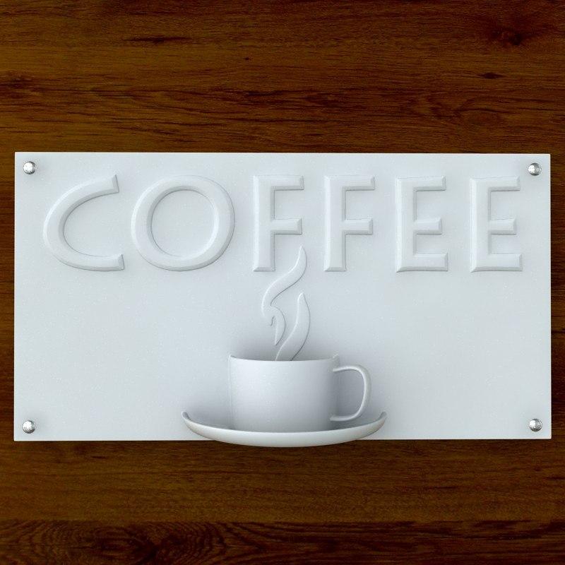 3d model printable print coffee sign