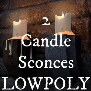3d 2 candle sconces