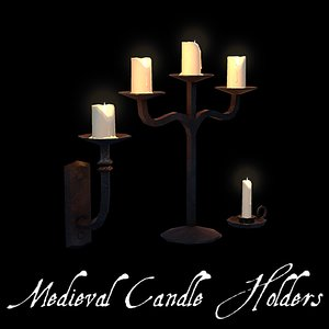 3 old candle holders 3d obj