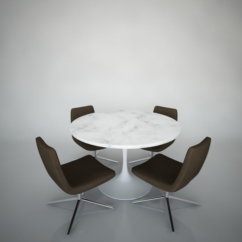 Tulip Table Chairs 3d Model