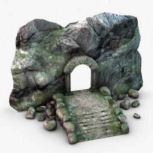 ancient stone entrance 3d 3ds