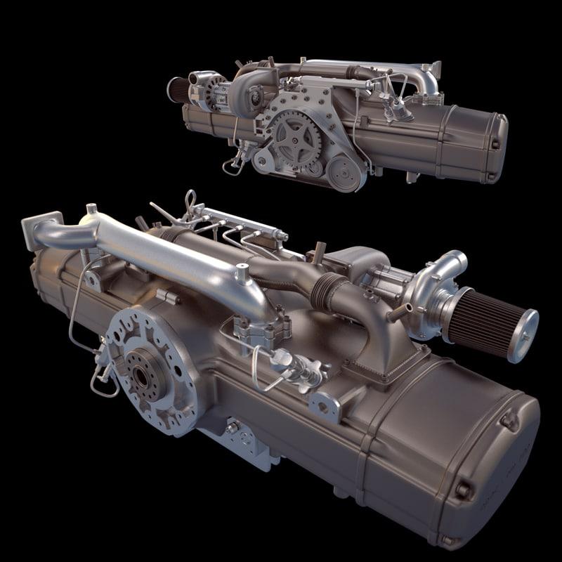 3d model engine diesel opoc