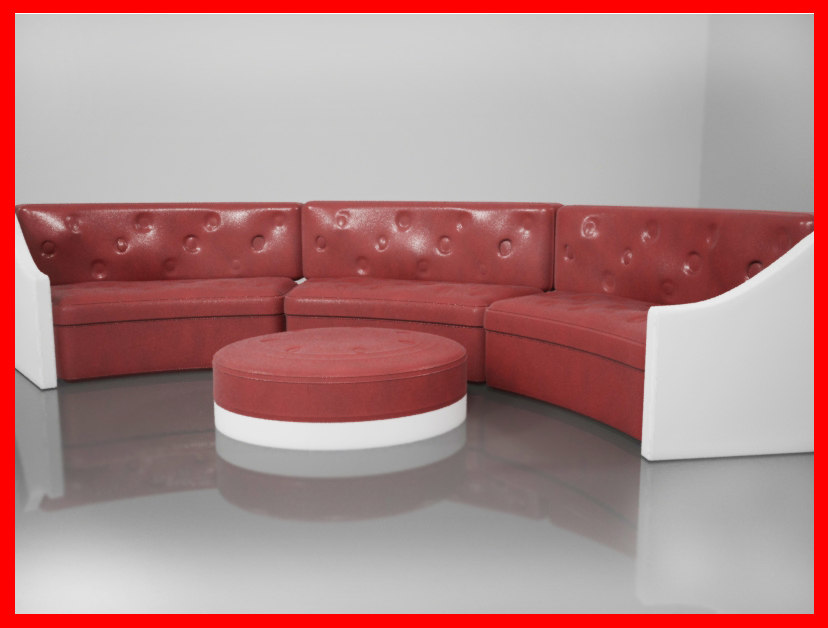 sofa red leather 3d model