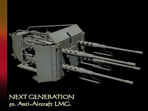 free anti-aircraft 50 machine guns 3d model
