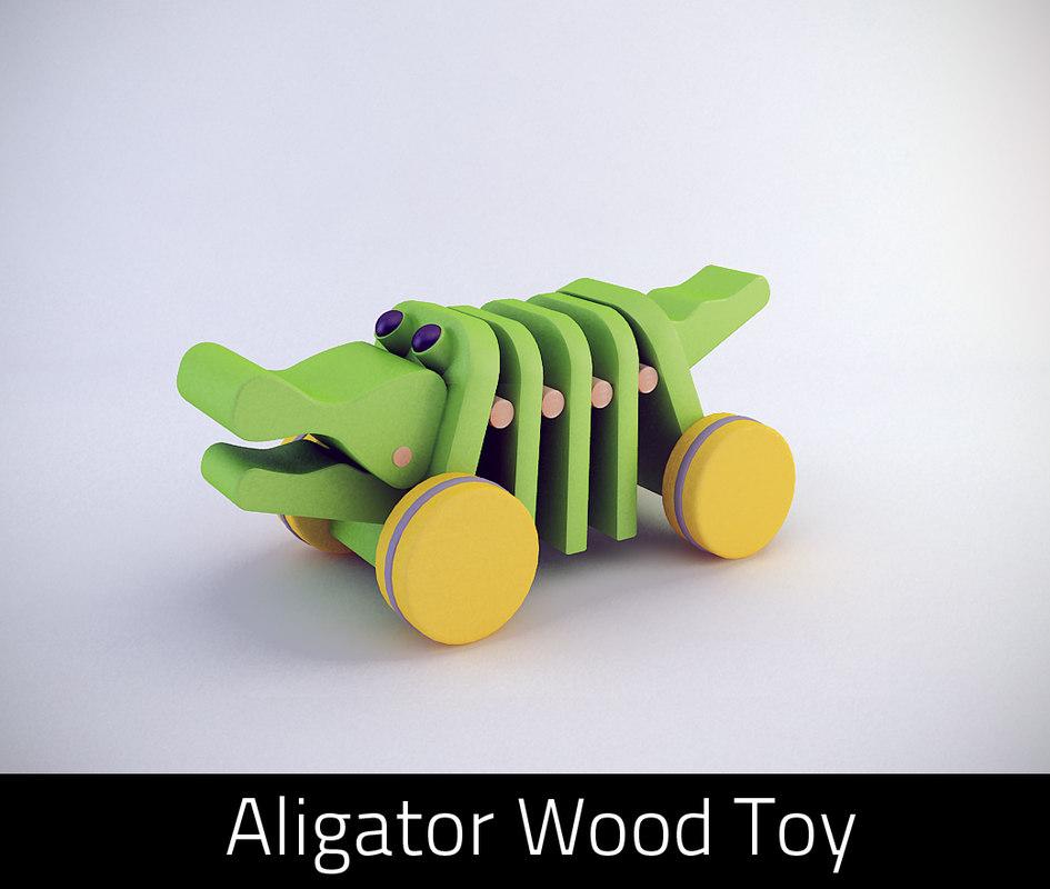 3d wooden aligator toy model