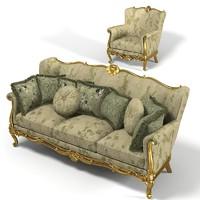 Artearredo Infinity Camelia Classic Elegant Baroque Sofa and Armchair