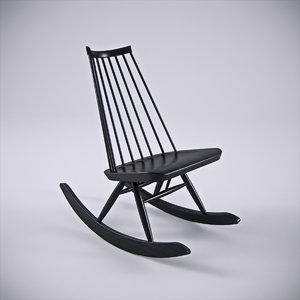 3d model of artek mademoiselle rocking chair
