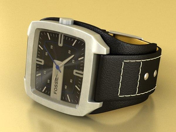 fossil watch male 3d model