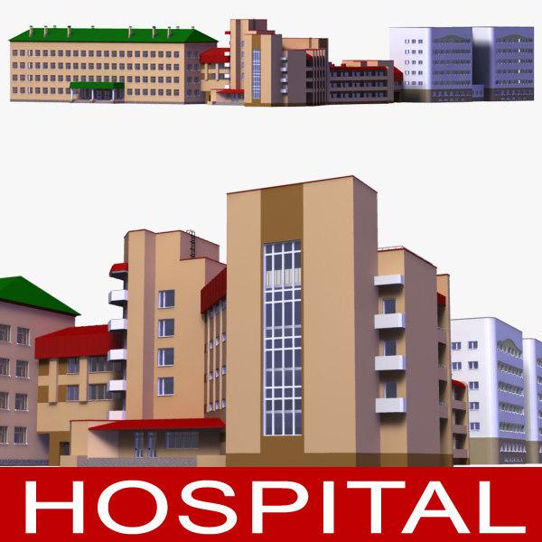 hospital building 3d lwo