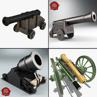 3d old cannons model