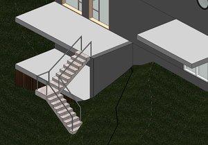 3d model railing adaptive staircase