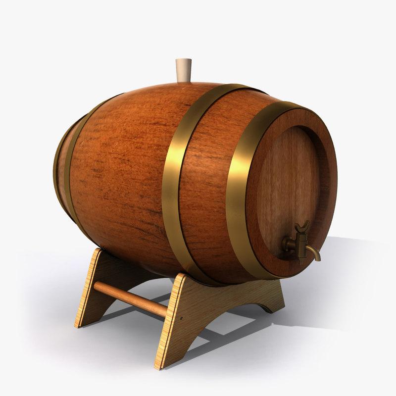 3d model barrel cask