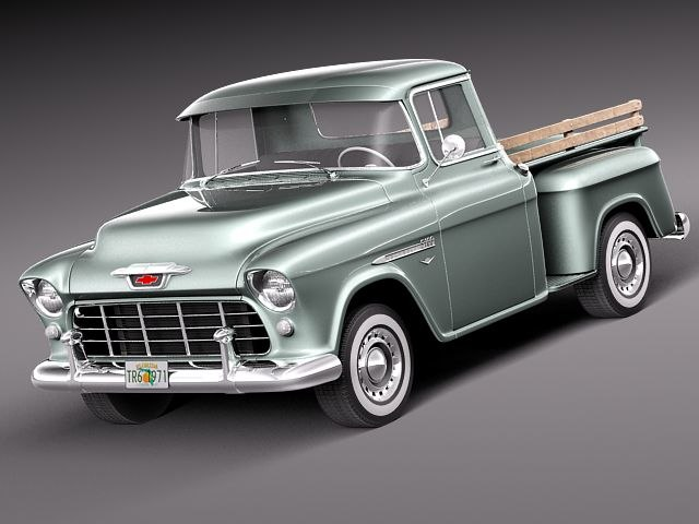 3d chevrolet pickup 1955 antique. Black Bedroom Furniture Sets. Home Design Ideas