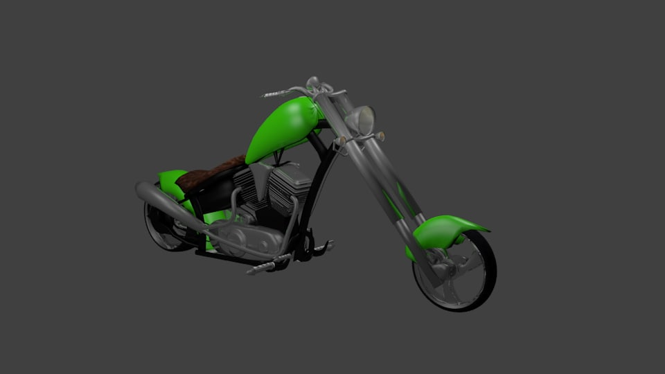 green chopper motorcycle 3d 3ds