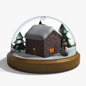3d christmas snowglobe model
