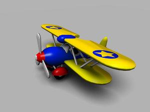 3ds max cartoon toy bi-plane