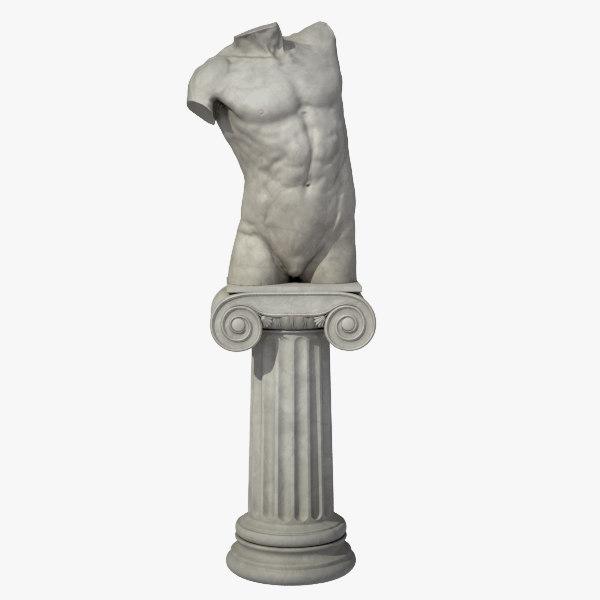 male torso pedestal 3d model
