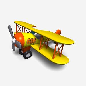cartoon bi-plane 3d model